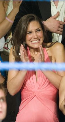 Kate Middleton watching a charity boxing match.