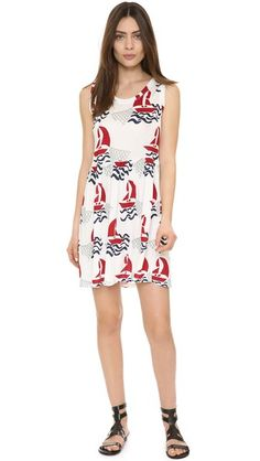 A sailboat pattern lends nautical style to this playful Tak.Ori tank dress. Scoop neckline. Unlined. Semi-sheer.