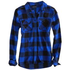 AEO Factory Girlfriend Flannel ($20) ❤ liked on Polyvore featuring tops, shirts, flannels, long sleeves, blue freedom, long sleeve shirts, shirts & tops, american eagle outfitters, long sleeve button shirt y flannel shirts