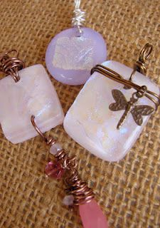 pink and lavender wire wrapped dichro pendants - Love the idea of the wrap with the dragonfly!