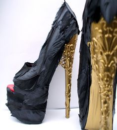 Feather Black Pumps w/ Gold Brocade Heel  Any Size  by alafemme