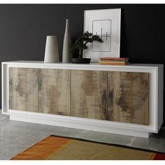 bahut blanc laque mat et couleur bois kansas buffet blanc et bois buffet meuble