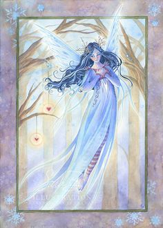 Snowflake Fairy Art Print Ice Blue Woodland Christmas Fairy