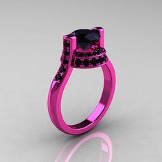 Moderno Italiano 14K CT 15 oro rosado negro diamante por artmasters
