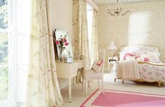 Country Bedroom Design, Lot of people like to spend their holidays in the country, they adore the country weather and atmosphere. They come back again and dream with the country atmosphere. Country Bedroom Design, Pink Bedroom Design, Feminine Bedroom, Modern Bedroom, Pretty Bedroom, White Bedroom, Woman Bedroom, Curtain Designs, Curtain Ideas