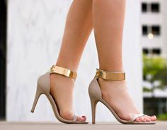 #nude #heels. Straps and gold cuff.