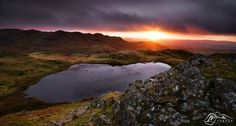 sunrise of 2014 - Stickle Tarn, up for sale if you want to buy it. Photography Website, Lake District, United Kingdom, Sunrise, Beautiful Places, Water, Beatrix Potter, Pinterest Board, Ark
