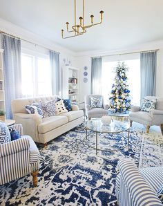 Getting a Blue and White Living Room Ready for Christmas - Thistlewood Farm Navy And White Living Room, Blue And White Curtains, Blue And White Rug, Beige Living Rooms, Blue Living Room Decor, Blue Rooms, White Rooms, Rugs In Living Room, Living Room Designs
