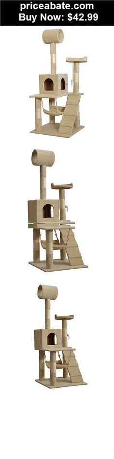 "Animals-Cats: Beige 55"" Cat Tree Tower Condo Scratcher Furniture Kitten House Hammock 90 - BUY IT NOW ONLY $42.99"