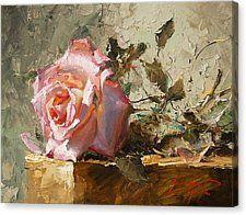 Rose In The Sunshine Canvas Print by Oleg Trofimoff