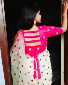 blouse designs latest Looking for blouse designs photos? Here are our picks of 30 trending saree blouse models that will blow your mind. Blouse Back Neck Designs, Best Blouse Designs, Simple Blouse Designs, Stylish Blouse Design, Sari Blouse Designs, Designer Blouse Patterns, Blouse Styles, Blouse Neck Patterns, Blouse Designs Catalogue