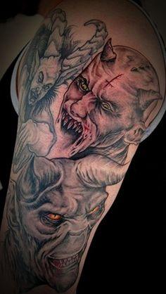 devil tattoo style then here is the men and woman devil tattoo ideas Full Sleeve Tattoo Design, Sketch Tattoo Design, Skull Tattoo Design, Full Sleeve Tattoos, Tattoo Designs Men, Back Of Shoulder Tattoo, Shoulder Tattoos For Women, Evil Tattoos, Men Tattoos