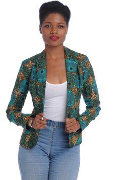 African Print Blazer $65