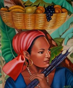 HAITIAN ART. So reminiscent of the everyday Haitian woman. Reminds me of my aunties.
