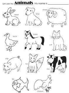 Ficha educativa gratis con los nombres de los animales en inglés ...