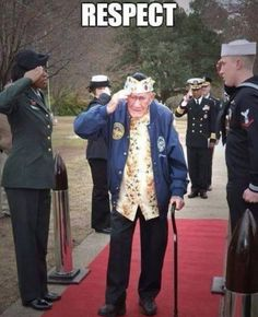 Frank Chebetar, a former USS Phelps (DD Sailor who survived the Dec. 1941 Japanese attack on Pearl Harbor, salutes while being introduced during a Pearl Harbor memorial ceremony at Joint Expeditionary Base Little Creek-Fort Story. Military Quotes, Military Love, Military Humor, Military Pictures, American Pride, American History, Gi Joe, Pin Up, Pearl Harbor Attack