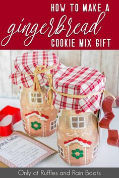 You are not going to believe how easy it is to make this fun gingerbread house cookie mix gift in a jar idea! It's so quick and simple--but the end result is WOW! Grab the easy tutorial to make this gingerbread cookie mix in a jar gift idea here! Mason Jar Meals, Mason Jar Gifts, Meals In A Jar, Mason Jars, Gingerbread Cookie Mix, Gingerbread Man Crafts, Gingerbread Houses, Mason Jar Cookies, Iced Cookies