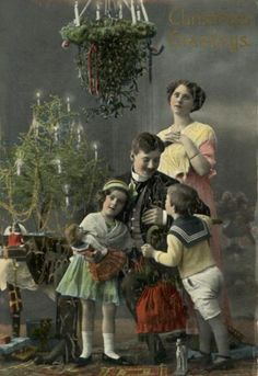 Mistletoe family photo. Is mother really feeling that tranquil?