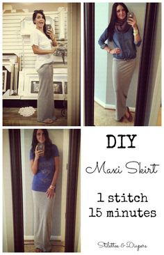 DIY Maxi Skirt, Tutorial, Maxi Skirt Tutorial, Jersey Knit Maxi Skirt I don't think it look right on me because I'm so short Diy Maxi Skirt, Maxi Skirt Tutorial, Maxi Skirts, Girl Skirts, Do It Yourself Baby, Do It Yourself Fashion, Sewing Hacks, Sewing Tutorials, Sewing Patterns