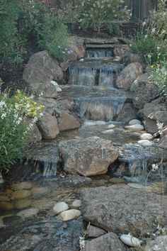 The Best Stone Waterfalls Backyard Ideas – Pool Landscape Ideas Backyard Water Feature, Ponds Backyard, Backyard Waterfalls, Pond Landscaping, Landscaping With Rocks, Building A Pond, Waterfall Features, Garden Waterfall, Natural Pond