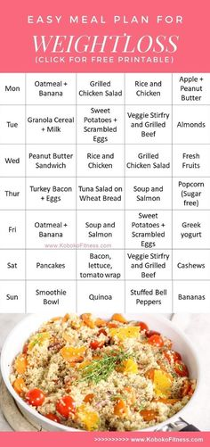 Food diet menus for weight loss