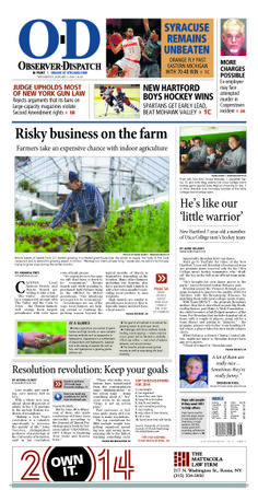 The front page for Wednesday, Jan. 1, 2014: Risky business on the farm