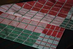 Handwoven Cotton Linen Tea Towel Farmhouse Blocks by HandwovenHome