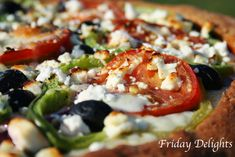 homemade Greek Pizza with Spinach, Feta cheese and Olives YUM :)