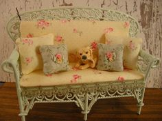 Miniature dollhouse bench by Mosswayminiatures on Etsy, $49.50