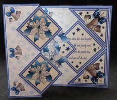 Card Gallery - Fold back pop-up - Poinsettias & silver bells