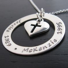 Brisa blessings of love personalized necklace with sterling heart with cross charm