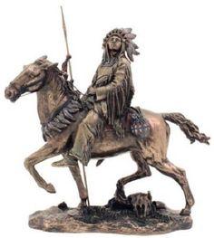 9.5 Inch Cheyenne Indian Riding Horse Statue Figurine American Warrior Indio