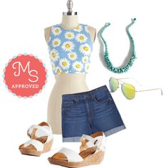 In this outfit: Still Daisy After All These Years Top, Premium Picnic Spot Shorts, Editor-in-Reef Necklace, A Sunny Thing Happened Sunglasses, Sweet and Savor It Wedge #summer #croptop #shorts #cute #retro #ModCloth #ModStylist #fashion #ootd