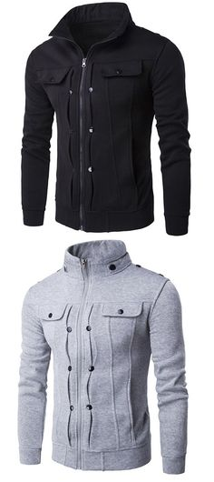 Buttoned Pleated Stand Collar Zip Up Jacket