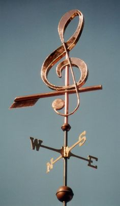 Musical Note G Clef Weathervane - Handmade Of Copper