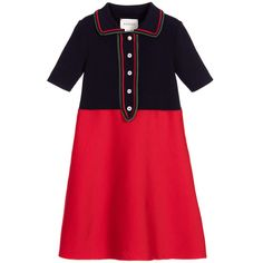Girls knitted wool, silk and cashmere blend dress, featuring a navy blue ribbed top with a collar and placket trimmed in red and sparkly green. The placket has Gucci's monogrammed buttons, with a lovely pearl bead button at the top, and the red,finely knitted jerseyskirt is elegantly flared.