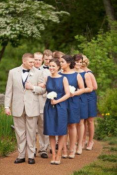 knee length, navy, bridesmaid dresses. Cheekwood Botanical Gardens, Nashville Tennessee.  From Diana + Shawn's wedding.  Photo by Krista Lee.