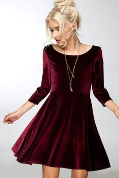 "- This chic and flirty velvet dress is perfect for any winter event - Small: 33"" length / 16"" bust Click Here to Shop All of Our Amazing Velvet Dresses"
