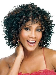 Yolanda Synthetic Wig by Vivica Fox by Vivica Fox. $41.95. The Yolanda by Vivica Fox is a medium length with a side part. This wig features tons of beautiful spiral curls, for full body and volume. It also has a total stretch cap to give you maximum comfort. Short Human Hair Wigs, Kinky Curly Wigs, Afro Wigs, Short Curly Hair, Curly Hair Styles, Short Afro, Deep Curly, Choppy Bob Haircuts, Wigs With Bangs