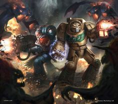 Warhammer 40K: Vox Tenebris cover, Rafael Teruel on ArtStation at https://www.artstation.com/artwork/9OElo