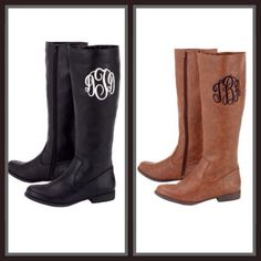 Jacee Monogram Riding Boots – The Purple Paisley Boutique. Not necessarily these exact ones- I just like the monogramed boot.