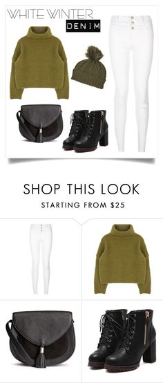 """white denim"" by lovedreamfashion ❤ liked on Polyvore featuring Topshop, Winter, white, Boots, whitedenim and winterwhite"