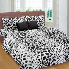 Black Animal Pattern Double Bed Sheet - king size double bed sheets online india