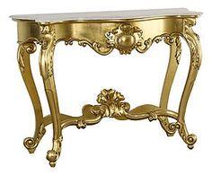 Consolle in mogano e marmo Luigi oro - 145x96x55 cm
