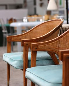 Edward Wormley Pair of Cane-Back chairs (photography by David John). Blue Velvet Dining Chairs, Rattan Dining Chairs, Blue Dining Room Chairs, Chairs For Rent, Chairs For Sale, Beauty Chair, Chair Photography, Cane Back Chairs, Mid Century Chair