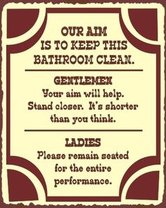 Our Aim Bathroom Clean Vintage Metal Restroom Toilet Sign Wall Art Funny! New!