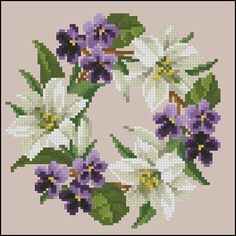 Cross stitch - flowers: Lilies and violets wreath (free pattern) Butterfly Cross Stitch, Cross Stitch Tree, Cross Stitch Flowers, Cross Stitch Charts, Cross Stitch Designs, Cross Stitch Patterns, Cross Stitching, Cross Stitch Embroidery, Embroidery Patterns