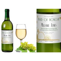 Personalised Wedding White Wine - Butterfly and Flower Design  from www.personalisedweddinggifts.co.uk :: ONLY £19.95