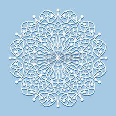 Beautiful mandala lace ornament on blue background for cards or invitations. Mandala round element. Vector illustration. photo