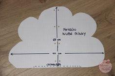Tutorial cojín con forma de nube de minky - El mundo de Helen Cute Pillows, Baby Bumps, Baby Room, Illustration, Patches, Baby Shower, Templates, Quilts, Diy